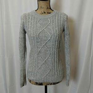 Marled grey cable knit sweater